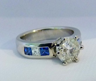blue sapphire and diamond platinum engagement ring SilverStone Jewellery North Shore