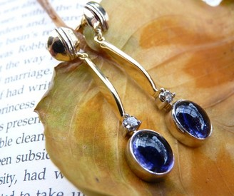 iolite and diamond gold earringsrs