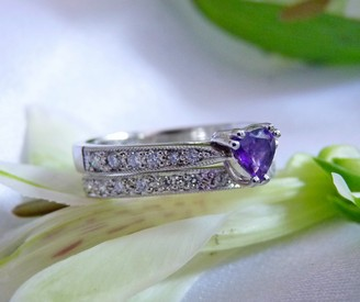 white gold diamond amethyst wedding ring set rhodium plated