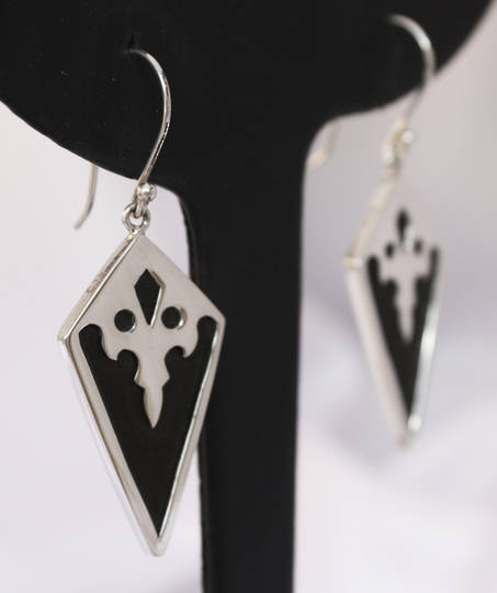 Polished black wood and silver earrings