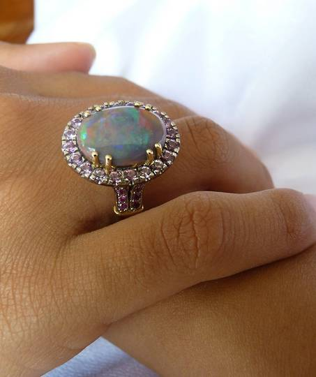 Opal and pink sapphire 18ct yellow gold dress ring