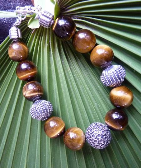Tigers eye and silver beaded bracelet - made in NZ
