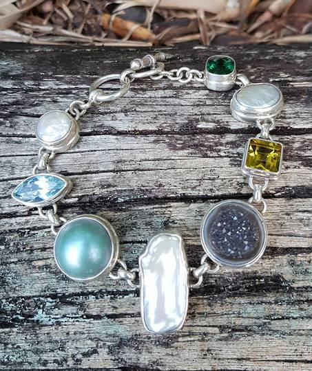 Gemstone and pearl silver bracelet
