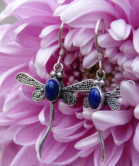 Lapis lazuli dragonfly earrings