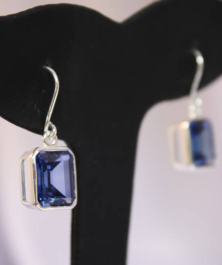 Synthetic Sapphire Silver Earrings