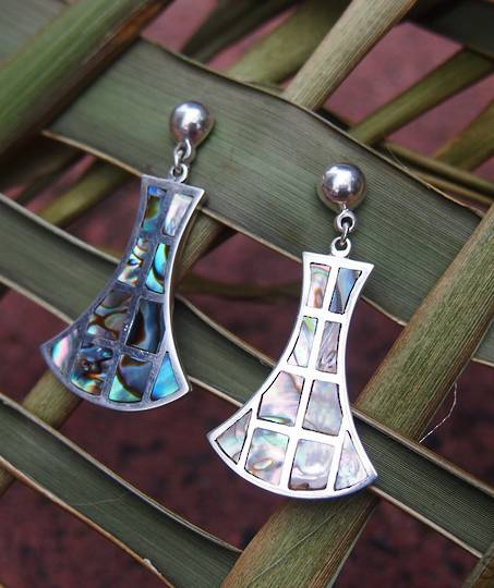 Inlay paua shell, solid silver earrings