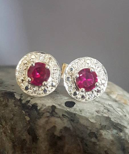 Silver red and cz stud earrings