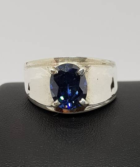 Sterling silver ring with synthetic sapphire
