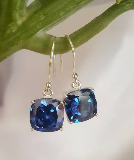 Sterling silver sapphire blue earrings