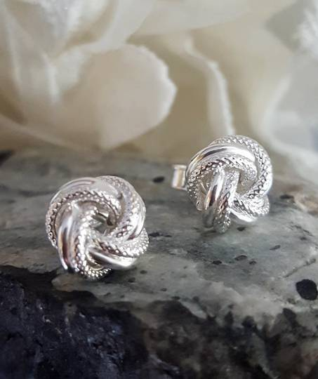 Silver knot stud earrings