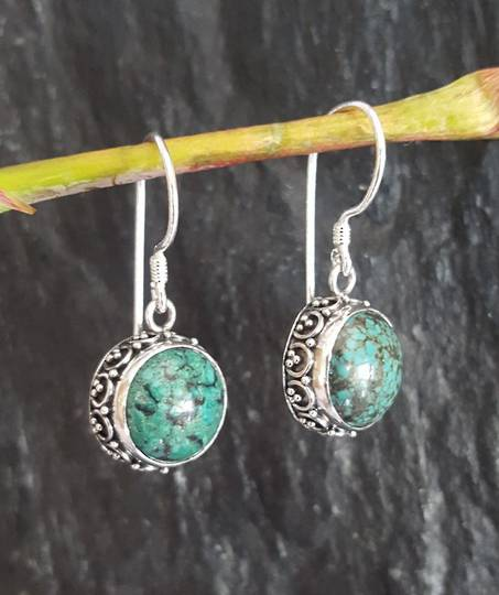 Silver turqupoise earrings with filigree silver frame