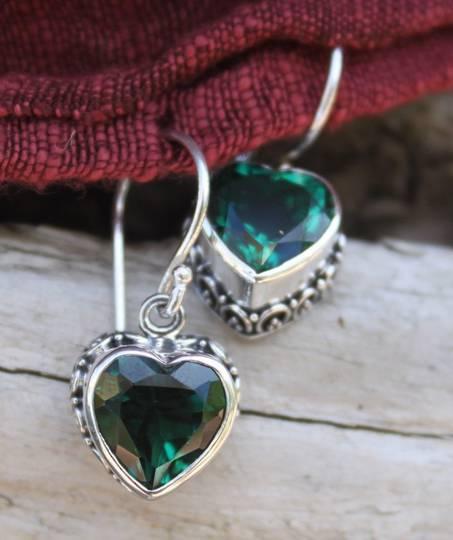 Green Quartz Heart Earrings