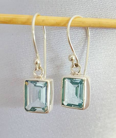 925 silver blue topaz earrings