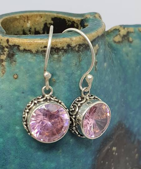 Round pink gemstone earrings with filigree setting