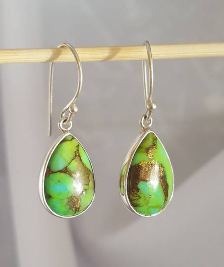 Teardrop green mohave turquoise earrings
