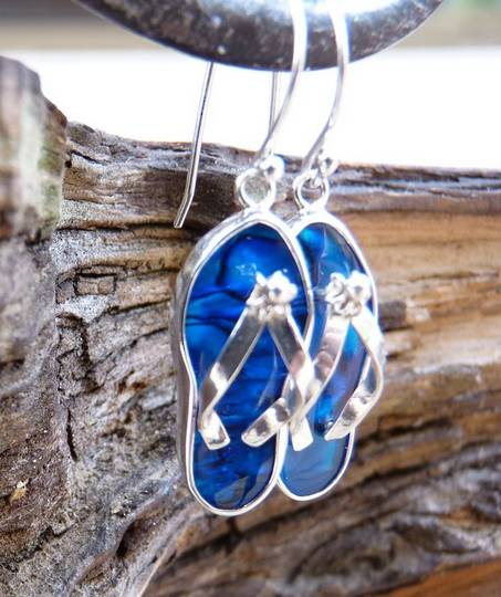 Blue paua shell jandal earrings