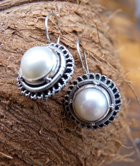 Sterling silver large fresh water pearl earrings