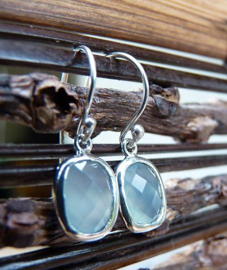 Dainty silver chalcedony earrings