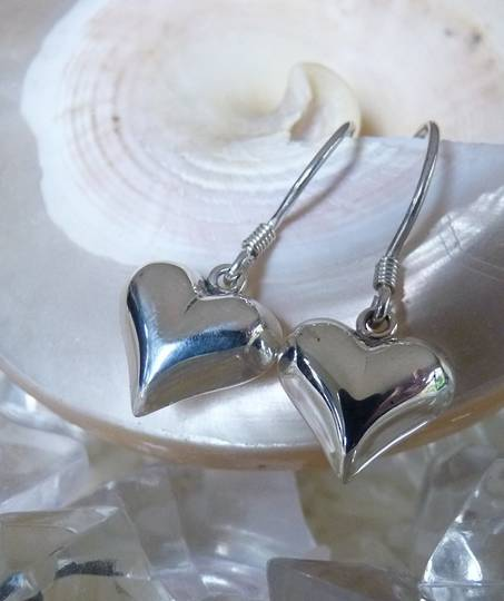Sterling Silver 3D Heart Earrings