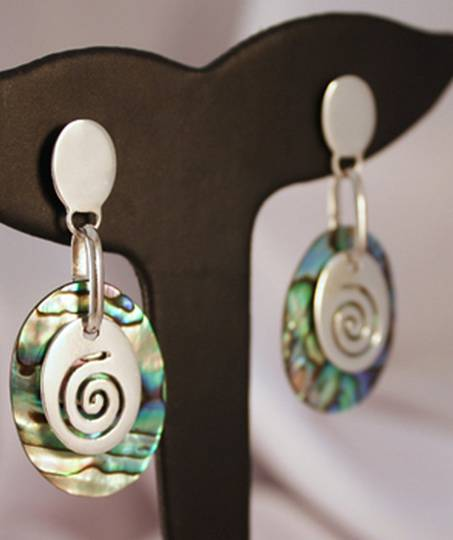 Silver Paua Shell Earrings with Silver Koru