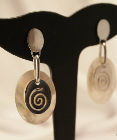 Mother of Pearl Earrings with Silver Koru Disc