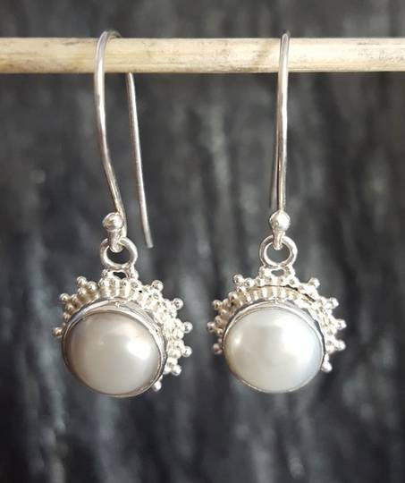 Sterling silver fresh water pearl hook earrings