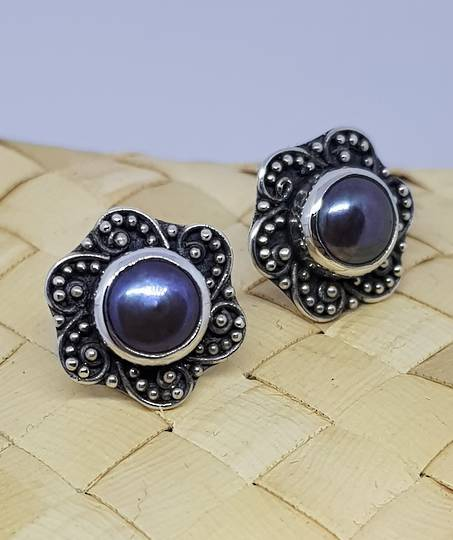 Fresh Water Pearl Stud Earrings with Filigree