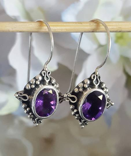 Sterling silver filigree amethyst earrings