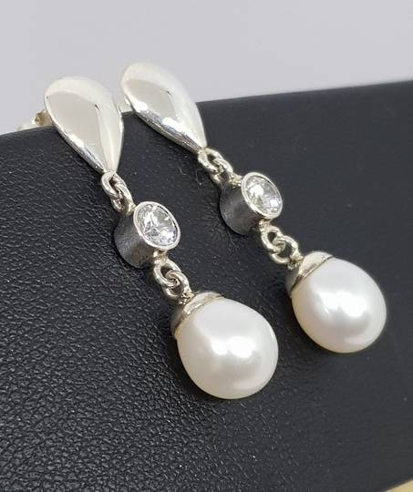 Fresh Water Pearl Drop Earrings with c/z sparkle
