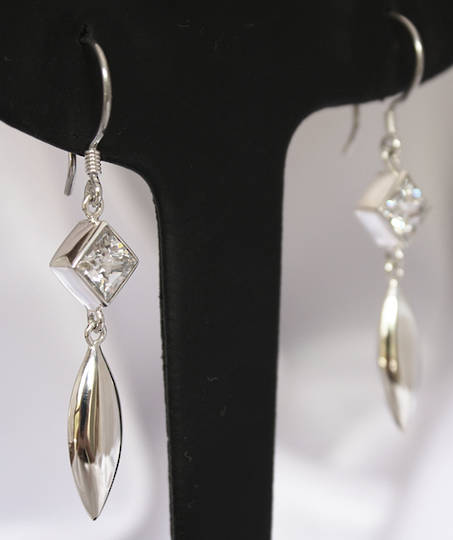 Cubic zirconia earrings - long silver earrings