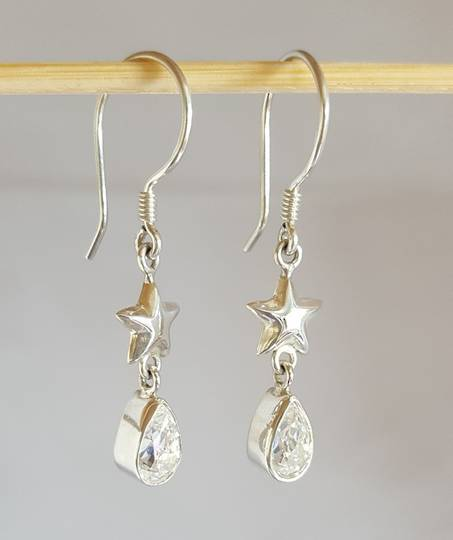 Cubic zirconia earrings | Stars and diamonds