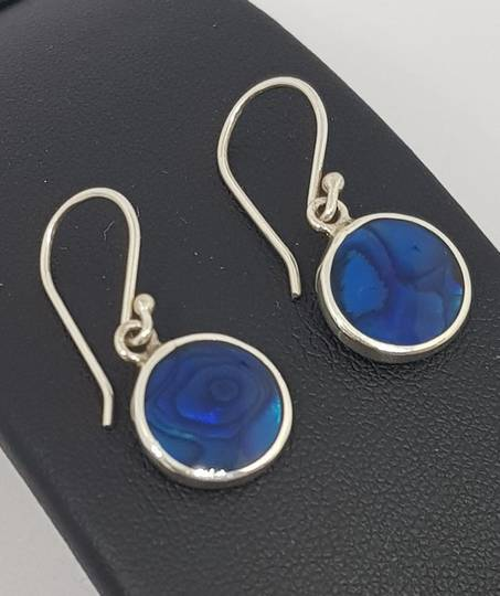 Cobalt blue - dyed paua silver earrings