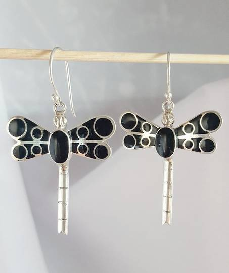 Black dragonfly earrings - free delivery in NZ