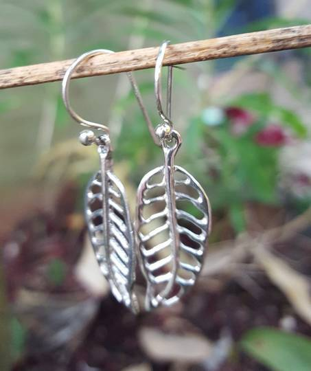 Sterling silver open leaf earrings