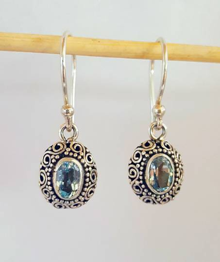 Sterling filigree blue topaz earrings