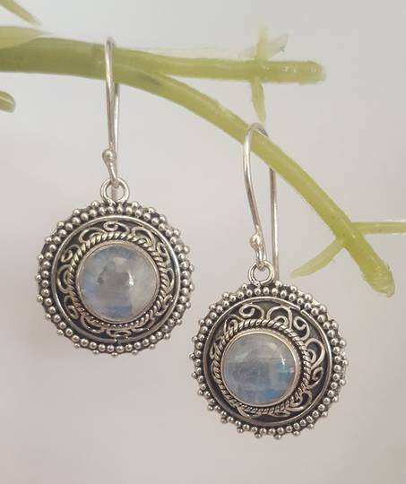Romantic moonstone earrings with stunning detailed frame