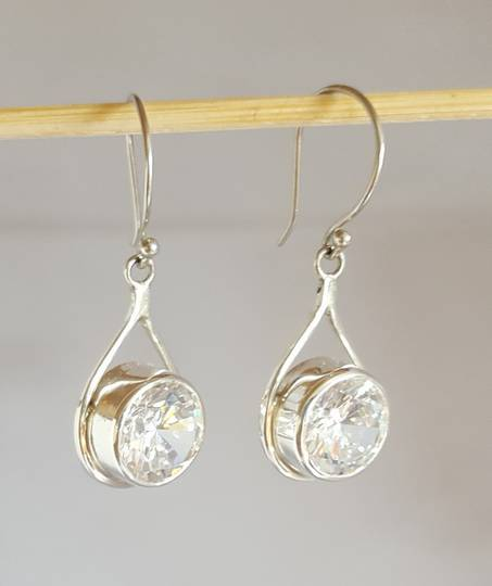 Sterling silver earrings with large cubic zirconia