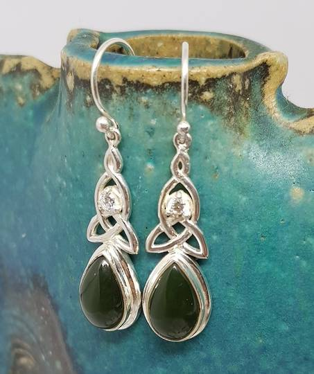 NZ greenstone (pounamu) silver earrings