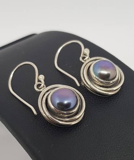 Black pearl earrings, sterling silver