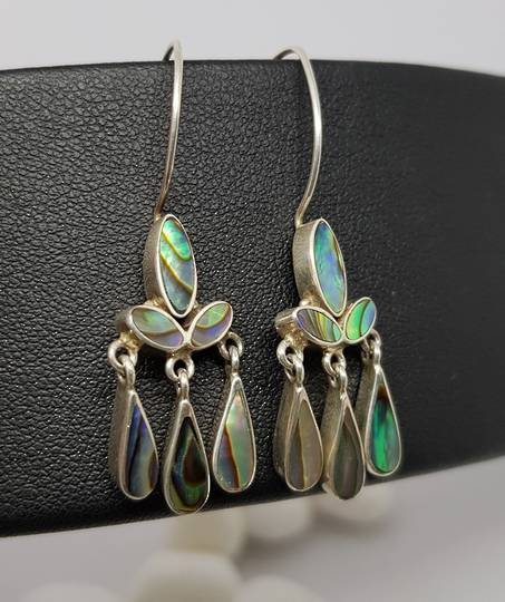Sterling silver dangling longer paua shell earrings