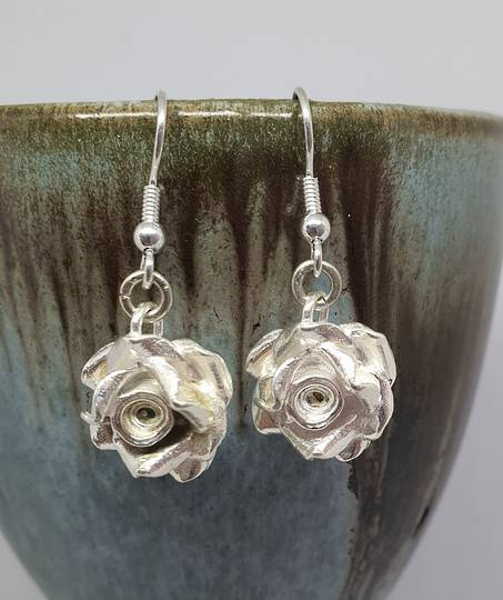 Silver rose earrings, romantic and alluring - last pair