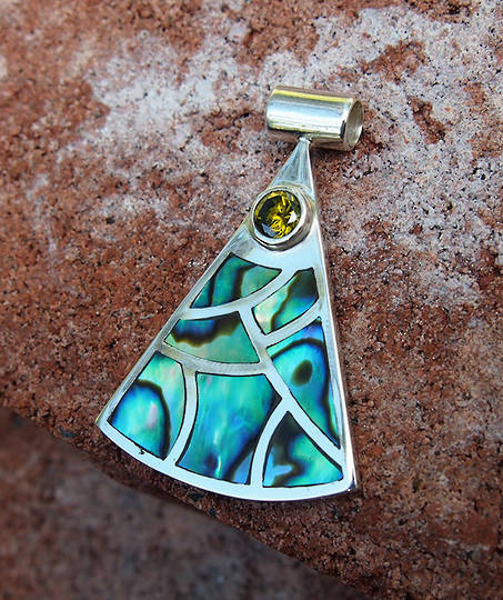 Sterling silver NZ paua shell pendant with gemstone