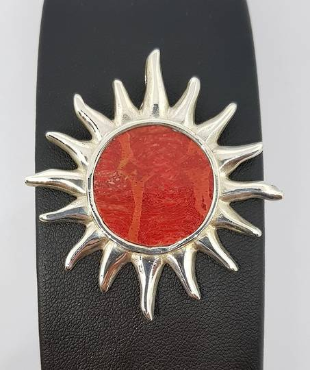Sterling silver red coral sunburst pendant, made in NZ