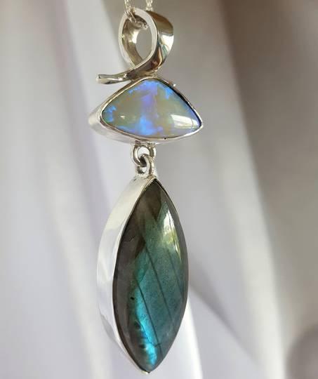 Labradorite and opal silver pendant
