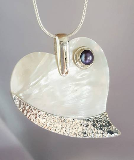 Mother of Pearl and Pearl Heart Pendant