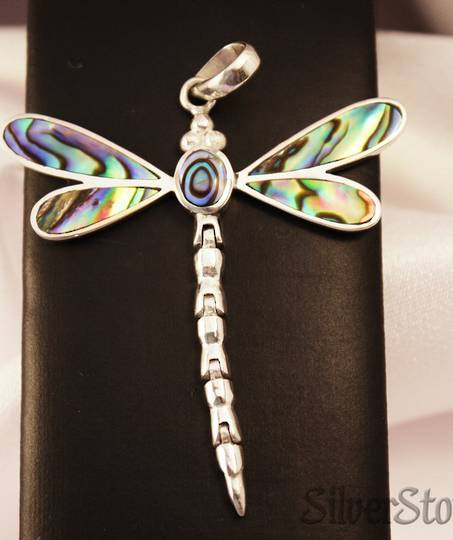 NZ Paua Shell Silver Dragonfly Pendant