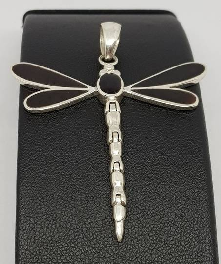 Black shell silver dragonfly pendant