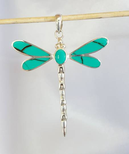Turquoise coloured dragonfly pendant - sterling silver