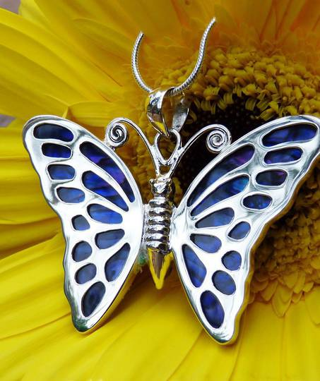 Sterling silver purple paua shell butterfly pendant