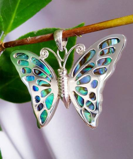 Sterling silver paua shell butterfly pendant